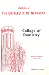 Bulletin of the College of Dentistry, 1965-1966 by University of Nebraska