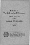Bulletin of the University of Nebraska: Annual Catalog of the College of Medicine, 1915-1916