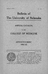 Bulletin of the University of Nebraska: Annual Catalog of the College of Medicine, 1921-1922