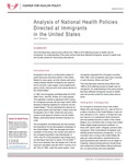 Analysis of National Health Policies Directed at Immigrants in the United States by Jim P. Stimpson