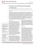 Primary Care Physician Assistants in Nebraska by Soumitra S. Bhuyan, Marlene Deras, Tamara S. Ritsema, Michael J. Huckabee, and Jim P. Stimpson