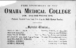 Free Dispensary Special Clinics Schedule 1893-1902 by Omaha Medical College